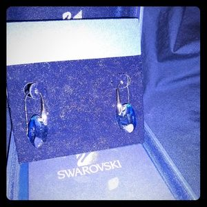 Genuine Swarovski blue Crystal drop earrings